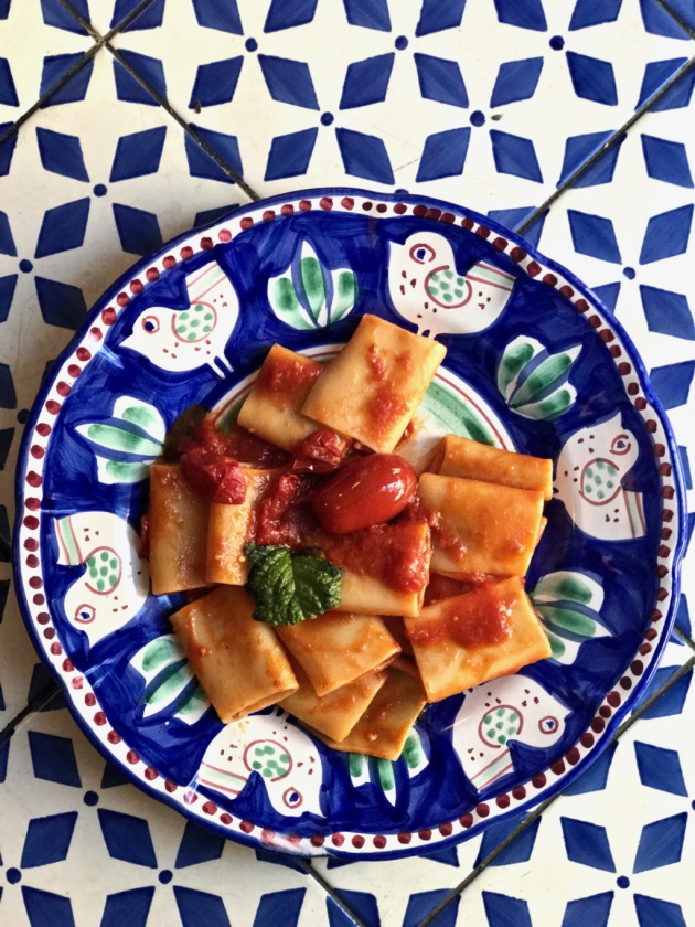 Paccheri with tomato sauce. Picture by Kerstin Rodgers