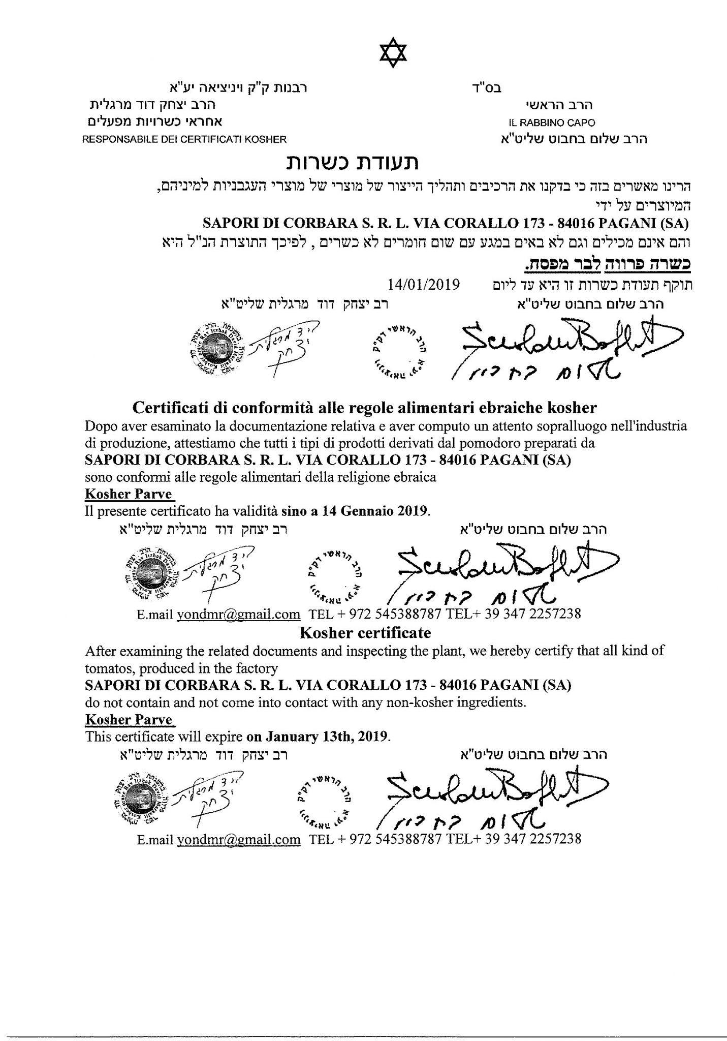 Certificazione Kosher per I Sapori di Corbara